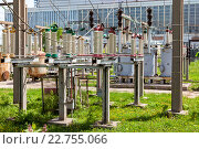 Купить «Part of high-voltage substation with switches in summer sunny day», фото № 22755066, снято 17 августа 2018 г. (c) FotograFF / Фотобанк Лори