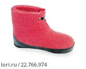 Купить «Ботинок войлочный ярко-красного цвета», фото № 22766974, снято 5 мая 2016 г. (c) Александр Романов / Фотобанк Лори