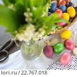 Купить «Натюрморт с пасхальными яйцами», фото № 22767018, снято 30 апреля 2016 г. (c) Иван Черненко / Фотобанк Лори