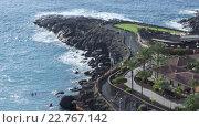 Мыс с вулканическими образованиями на побережье Тенерифе. Таймлапс. Playa Paraiso, Канарские острова, Испания (2016 год). Стоковое видео, видеограф Кекяляйнен Андрей / Фотобанк Лори