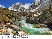Купить «Весна в горах. Бурная горная река», фото № 22776202, снято 2 мая 2016 г. (c) александр жарников / Фотобанк Лори