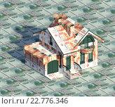 Дом из денег на деньгах. Стоковая иллюстрация, иллюстратор Варенов Александр Владимирович / Фотобанк Лори