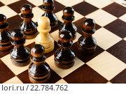 Купить «Белая шахматная пешка стоит в окружении черных пешек», фото № 22784762, снято 31 января 2016 г. (c) Рамиль Гибадуллин / Фотобанк Лори