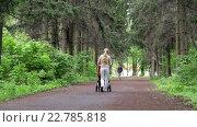 Купить «Молодая женщина с коляской в парке», видеоролик № 22785818, снято 7 мая 2016 г. (c) Загородний Кирилл / Фотобанк Лори