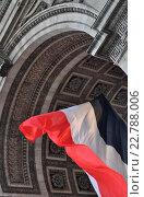 Купить «Национальный флаг Франции (Drapeau national de la France) под Триумфальной аркой (L'arc de triomphe de l'Étoile), Париж, Франция», фото № 22788006, снято 3 июня 2015 г. (c) Дарья Кравченко / Фотобанк Лори