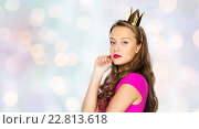 young woman or teen girl in pink dress. Стоковое фото, фотограф Syda Productions / Фотобанк Лори