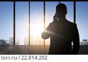 Купить «silhouette of business man calling on smartphone», фото № 22814202, снято 5 августа 2020 г. (c) Syda Productions / Фотобанк Лори