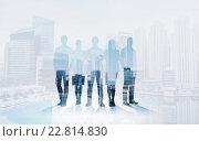 Купить «business people silhouettes over city background», фото № 22814830, снято 27 марта 2019 г. (c) Syda Productions / Фотобанк Лори