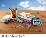 Купить «close up of stationery or school supplies on table», фото № 22816074, снято 17 марта 2016 г. (c) Syda Productions / Фотобанк Лори