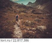 Купить «Woman with hiking poles walking in mountain landscape», фото № 22817386, снято 5 августа 2015 г. (c) Andrejs Pidjass / Фотобанк Лори