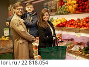 Купить «Young family in a grocery store», фото № 22818054, снято 9 октября 2015 г. (c) Andrejs Pidjass / Фотобанк Лори
