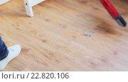 Купить «woman with broom cleaning floor at home», видеоролик № 22820106, снято 17 апреля 2016 г. (c) Syda Productions / Фотобанк Лори