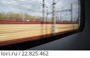 Купить «Вид из окна поезда на въезде на Ленинградский вокзал», видеоролик № 22825462, снято 25 апреля 2016 г. (c) Володина Ольга / Фотобанк Лори