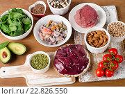 Купить «Foods with Zinc mineral on wooden table.», фото № 22826550, снято 2 апреля 2016 г. (c) Tatjana Baibakova / Фотобанк Лори