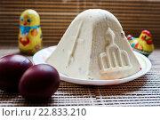 Купить «Творожная пасха  и праздничные яйца», эксклюзивное фото № 22833210, снято 1 мая 2016 г. (c) Игорь Низов / Фотобанк Лори
