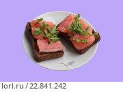 Сёмга в ломтиках на чёрном хлебе с петрушкой. Стоковое фото, фотограф Kostin sergey aleksandrovich / Фотобанк Лори
