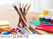 Купить «close up of stationery or school supplies on table», фото № 22844138, снято 17 марта 2016 г. (c) Syda Productions / Фотобанк Лори