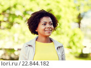 Купить «happy african american young woman in summer park», фото № 22844182, снято 4 июня 2015 г. (c) Syda Productions / Фотобанк Лори