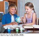 Купить «Children doing homework», фото № 22856306, снято 21 марта 2018 г. (c) Яков Филимонов / Фотобанк Лори