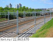 Купить «Railroad tracks Oktyabrskaya railway in Zelenograd, Russia», фото № 22863670, снято 13 мая 2016 г. (c) Володина Ольга / Фотобанк Лори