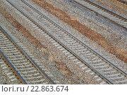 Купить «Railroad tracks Oktyabrskaya railway in Zelenograd, Russia», фото № 22863674, снято 13 мая 2016 г. (c) Володина Ольга / Фотобанк Лори