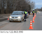 Купить «Инспектор дорожно-патрульной службы проверяет документы у водителя автомобиля», фото № 22863990, снято 14 марта 2014 г. (c) Free Wind / Фотобанк Лори