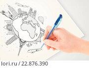 Купить «Hand drawing vacation trip around the earth with landmarks and cities», фото № 22876390, снято 8 июля 2020 г. (c) easy Fotostock / Фотобанк Лори