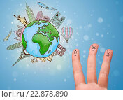 Купить «Cheerful finger smileys with famous landmarks of the globe», фото № 22878890, снято 8 июля 2020 г. (c) easy Fotostock / Фотобанк Лори