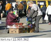 Купить «Пожилая женщина торгует свежей клубникой с лотка около метро Щелковская в Москве», эксклюзивное фото № 22901362, снято 30 апреля 2015 г. (c) lana1501 / Фотобанк Лори