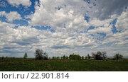 Купить «Кучевые облака над зеленым полем, таймлапс», видеоролик № 22901814, снято 16 мая 2016 г. (c) Сергей Эшметов / Фотобанк Лори