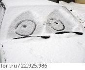 Купить «Автомобиль занесенный снегом с нарисованной на лобовом стекле рожицей», фото № 22925986, снято 28 февраля 2016 г. (c) Вячеслав Палес / Фотобанк Лори