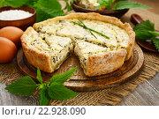 Купить «Пирог с крапивой и зеленым луком», фото № 22928090, снято 19 мая 2016 г. (c) Надежда Мишкова / Фотобанк Лори