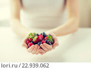 Купить «close up of woman hands holding berries», фото № 22939062, снято 28 апреля 2015 г. (c) Syda Productions / Фотобанк Лори