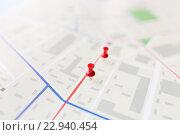 Купить «close up of map or city plan with pin», фото № 22940454, снято 22 марта 2016 г. (c) Syda Productions / Фотобанк Лори