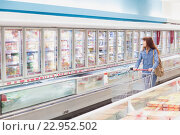 Купить «Customer looking for a product in the frozen aisle», фото № 22952502, снято 15 октября 2015 г. (c) Wavebreak Media / Фотобанк Лори