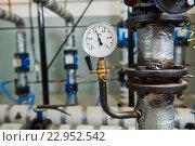 Купить «manometer in boiler room», фото № 22952542, снято 16 февраля 2016 г. (c) Дмитрий Калиновский / Фотобанк Лори