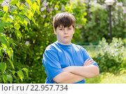 Купить «The boy crossed his arms in summer park», фото № 22957734, снято 15 мая 2016 г. (c) Володина Ольга / Фотобанк Лори