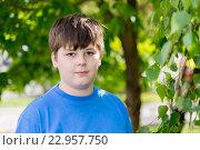 Купить «Portrait of boy of about 12 years in Park», фото № 22957750, снято 15 мая 2016 г. (c) Володина Ольга / Фотобанк Лори