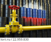 Oil pipe line valve in front of the russian flag on the oil barrels. Iranian gas and oil fuel energy concept. Стоковое фото, фотограф Maksym Yemelyanov / Фотобанк Лори