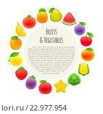 Круглая рамка из овощей и фруктов. Стоковая иллюстрация, иллюстратор Viachaslau Vaitsenok / Фотобанк Лори