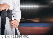 Купить «Composite image of fighter tightening karate belt», фото № 22991002, снято 18 августа 2019 г. (c) Wavebreak Media / Фотобанк Лори