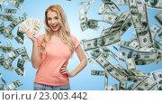 Купить «happy young woman with usa dollar cash money», фото № 23003442, снято 30 апреля 2016 г. (c) Syda Productions / Фотобанк Лори
