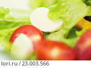 Купить «close up of vegetable salad with mozzarella cheese», фото № 23003566, снято 26 апреля 2015 г. (c) Syda Productions / Фотобанк Лори