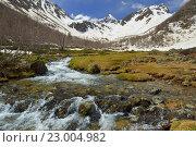 Купить «Ручей в горной долине на Кавказе весной», фото № 23004982, снято 21 мая 2016 г. (c) александр жарников / Фотобанк Лори