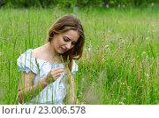 Молодая красивая женщина сидит в луговой траве. Стоковое фото, фотограф Ольга Коцюба / Фотобанк Лори