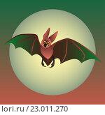 Летучая мышь на фоне луны. Стоковая иллюстрация, иллюстратор Евгения Миллер / Фотобанк Лори