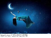 Купить «Woman in night sky», фото № 23012078, снято 24 февраля 2011 г. (c) Sergey Nivens / Фотобанк Лори