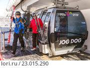 Купить «Mountain lifts to the ski resort Rosa Khutor. Sochi, Russia», фото № 23015290, снято 10 февраля 2016 г. (c) Сергей Лаврентьев / Фотобанк Лори