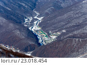 Купить «Ski resort Rosa Khutor. Mountains of Krasnaya Polyana. Sochi, Russia», фото № 23018454, снято 10 февраля 2016 г. (c) Сергей Лаврентьев / Фотобанк Лори