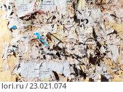 Купить «Стена с обрывками старых бумажных объявлений в качестве фона», фото № 23021074, снято 28 мая 2016 г. (c) FotograFF / Фотобанк Лори